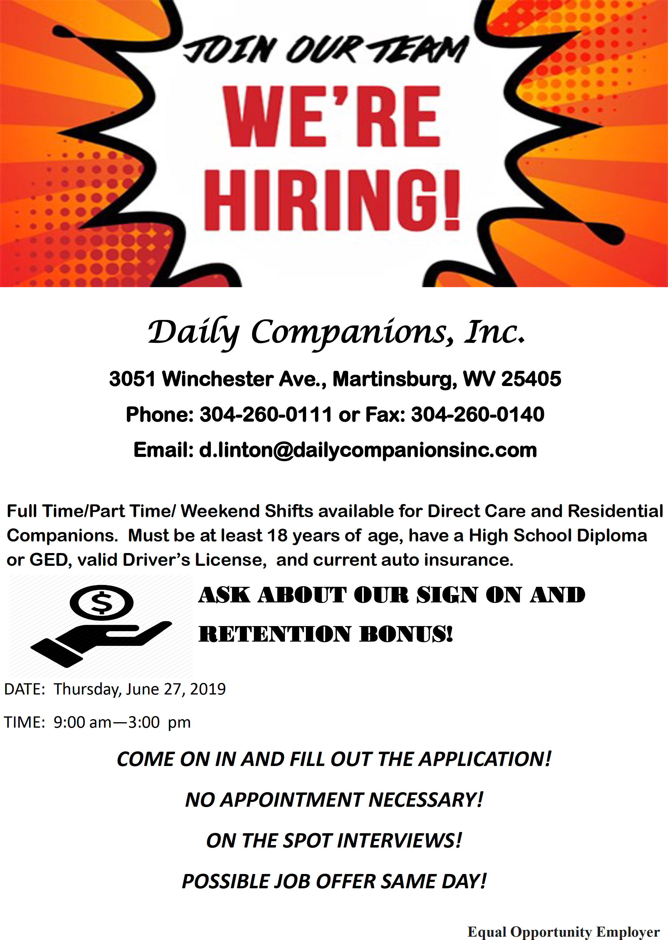 Daily Companions, Inc. Job Fair