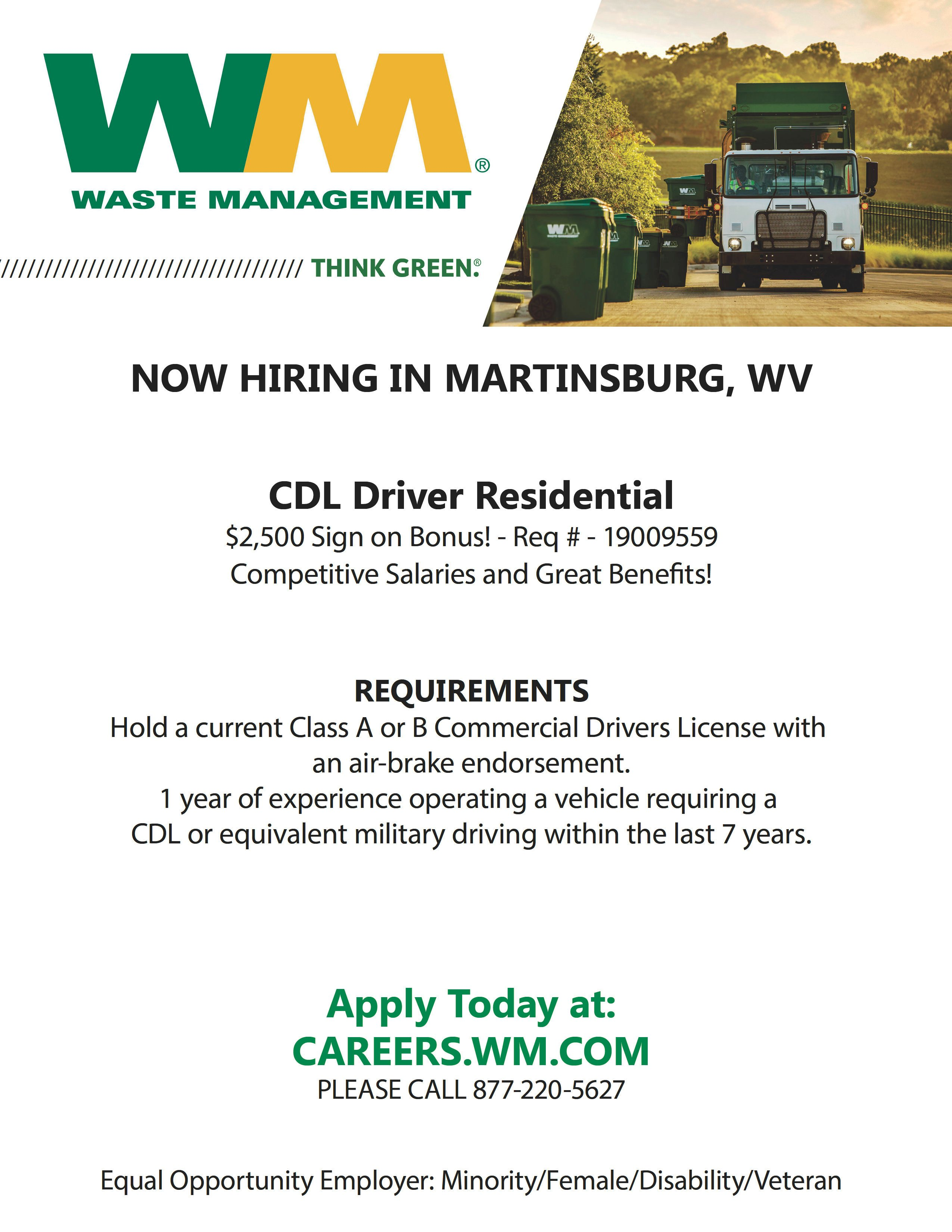 Waste Management – CDL Drivers in Martinsburg, WV